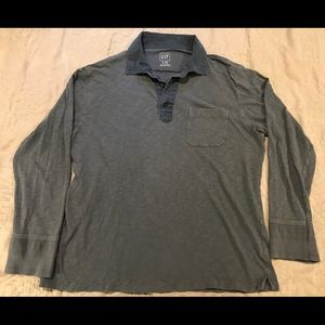 Gap casual long-sleeve 1/4 button up shirt, XL